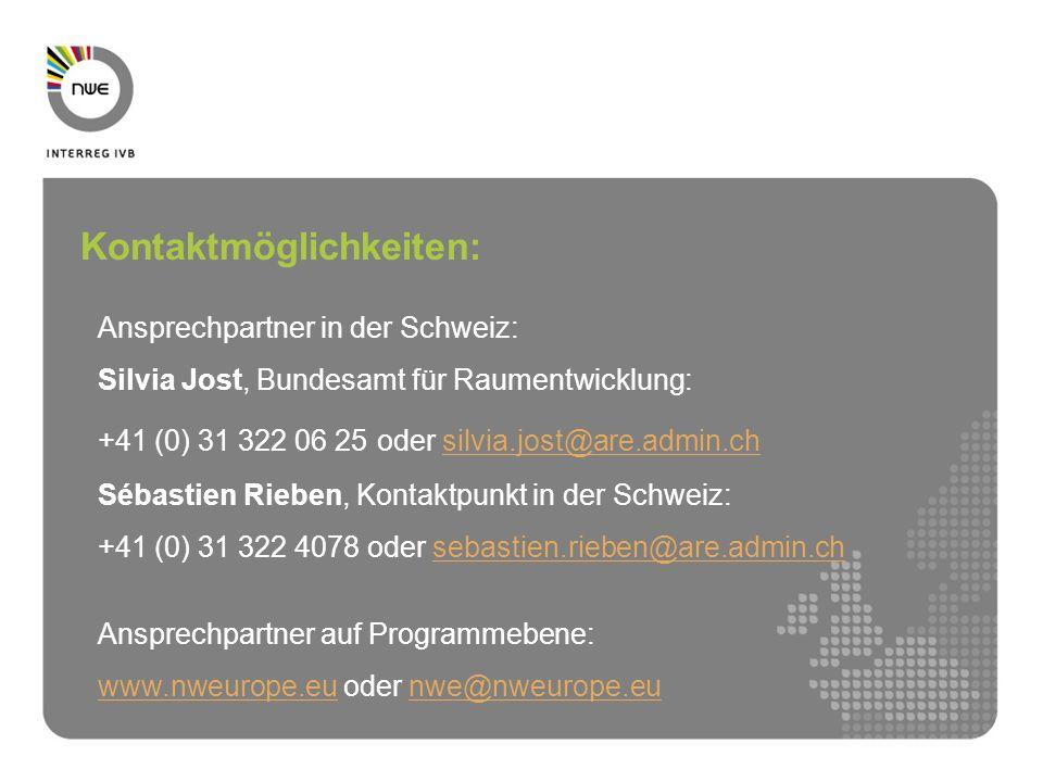 Ansprechpartner in der Schweiz: Silvia Jost, Bundesamt für Raumentwicklung: +41 (0) 31 322 06 25 oder silvia.jost@are.admin.chsilvia.jost@are.admin.ch