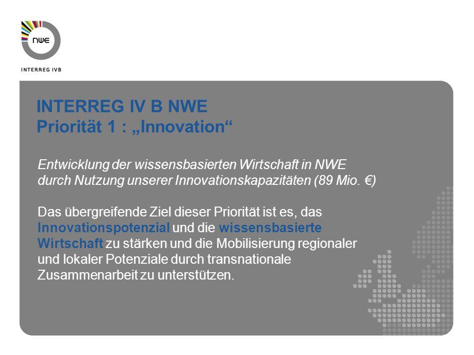 Entwicklung der wissensbasierten Wirtschaft in NWE durch Nutzung unserer Innovationskapazitäten (89 Mio. ) Das übergreifende Ziel dieser Priorität ist