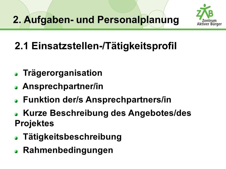 2.1 Einsatzstellen-/Tätigkeitsprofil Trägerorganisation Ansprechpartner/in Funktion der/s Ansprechpartners/in Kurze Beschreibung des Angebotes/des Pro