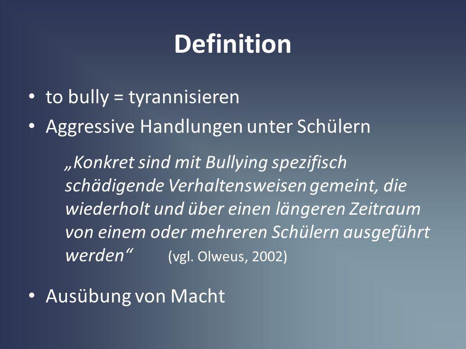Definition to bully = tyrannisieren Aggressive Handlungen unter Schülern Konkret sind mit Bullying spezifisch schädigende Verhaltensweisen gemeint, di