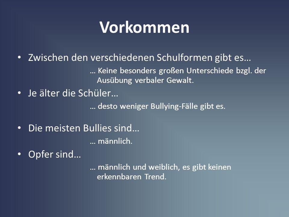 Vorkommen Zwischen den verschiedenen Schulformen gibt es… … Keine besonders großen Unterschiede bzgl. der Ausübung verbaler Gewalt. Je älter die Schül