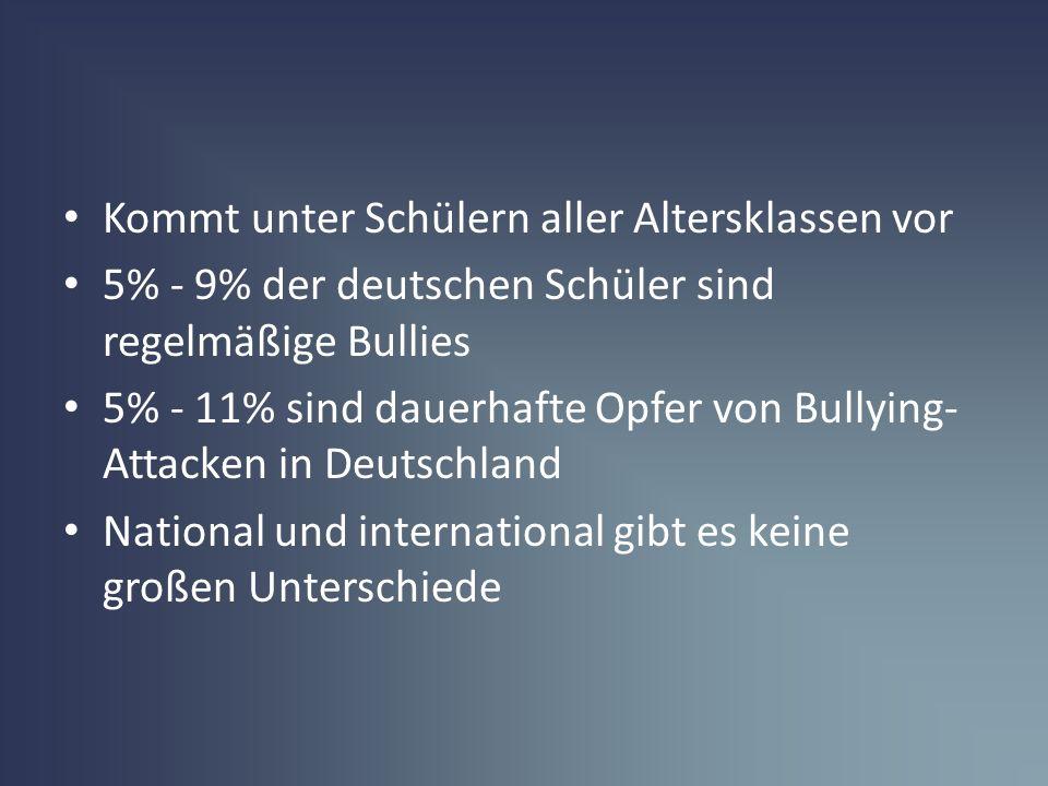 Kommt unter Schülern aller Altersklassen vor 5% - 9% der deutschen Schüler sind regelmäßige Bullies 5% - 11% sind dauerhafte Opfer von Bullying- Attac