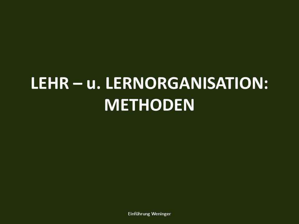 LEHR – u. LERNORGANISATION: METHODEN Einführung Weninger