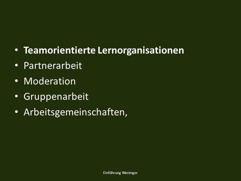 Teamorientierte Lernorganisationen Partnerarbeit Moderation Gruppenarbeit Arbeitsgemeinschaften, Einführung Weninger