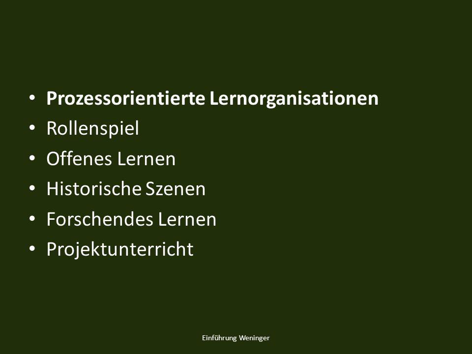Prozessorientierte Lernorganisationen Rollenspiel Offenes Lernen Historische Szenen Forschendes Lernen Projektunterricht Einführung Weninger