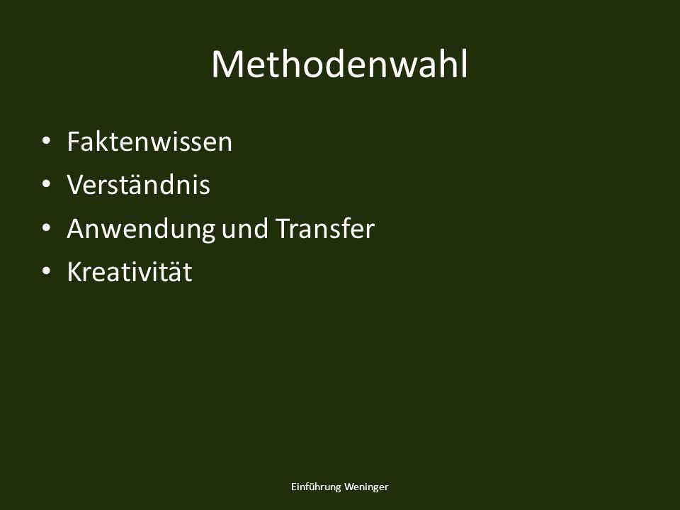 Methodenwahl Faktenwissen Verständnis Anwendung und Transfer Kreativität Einführung Weninger
