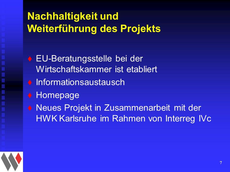 7 Nachhaltigkeit und Weiterführung des Projekts t EU-Beratungsstelle bei der Wirtschaftskammer ist etabliert t Informationsaustausch t Homepage t Neues Projekt in Zusammenarbeit mit der HWK Karlsruhe im Rahmen von Interreg IVc