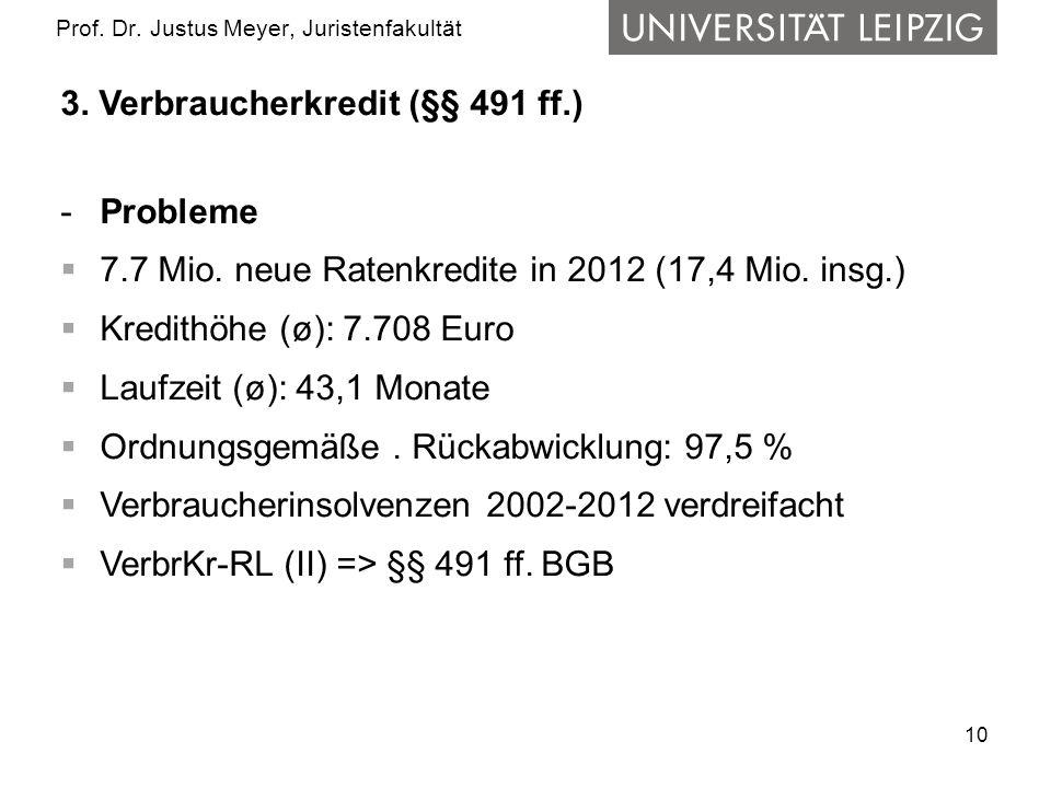 10 Prof. Dr. Justus Meyer, Juristenfakultät 3. Verbraucherkredit (§§ 491 ff.) -Probleme 7.7 Mio. neue Ratenkredite in 2012 (17,4 Mio. insg.) Kredithöh