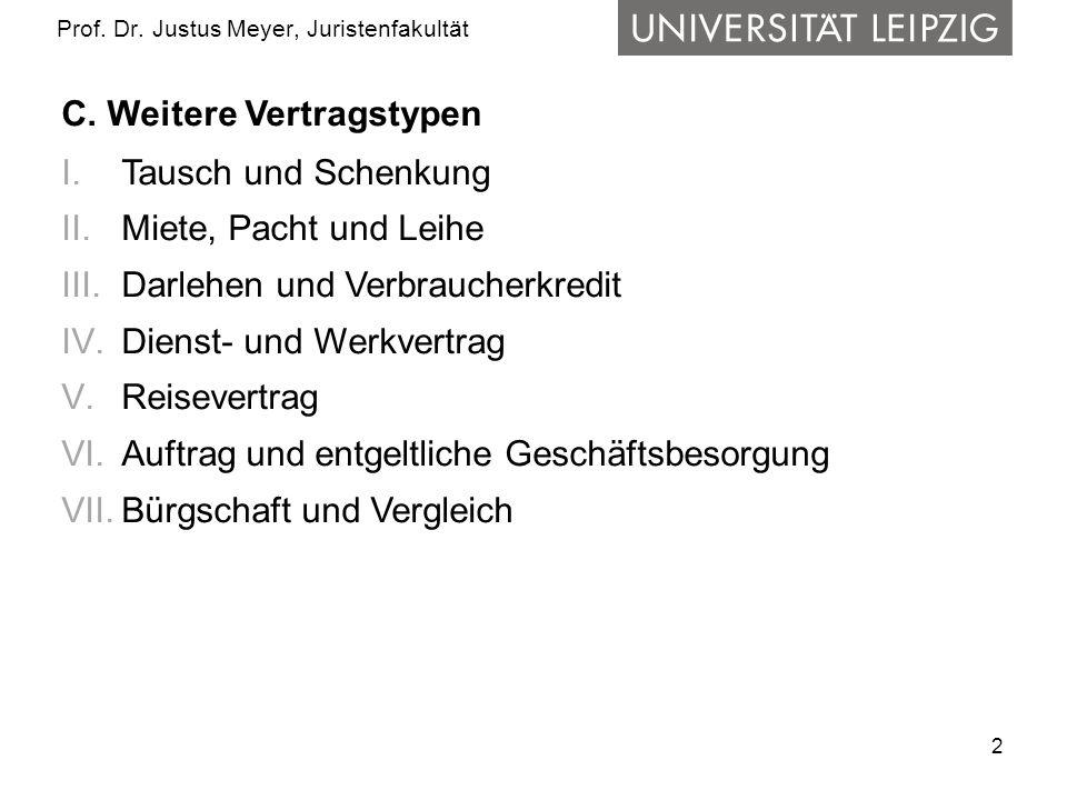 2 Prof. Dr. Justus Meyer, Juristenfakultät C. Weitere Vertragstypen I.Tausch und Schenkung II.Miete, Pacht und Leihe III.Darlehen und Verbraucherkredi