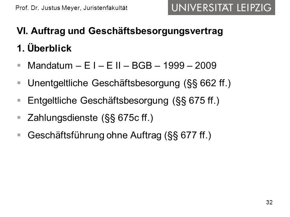 32 Prof. Dr. Justus Meyer, Juristenfakultät VI. Auftrag und Geschäftsbesorgungsvertrag 1. Überblick Mandatum – E I – E II – BGB – 1999 – 2009 Unentgel