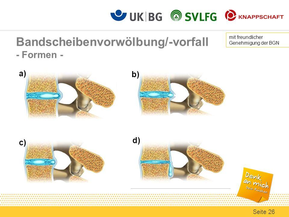 Bandscheibenvorwölbung/-vorfall - Formen - a) d) c) b) mit freundlicher Genehmigung der BGN Seite 26
