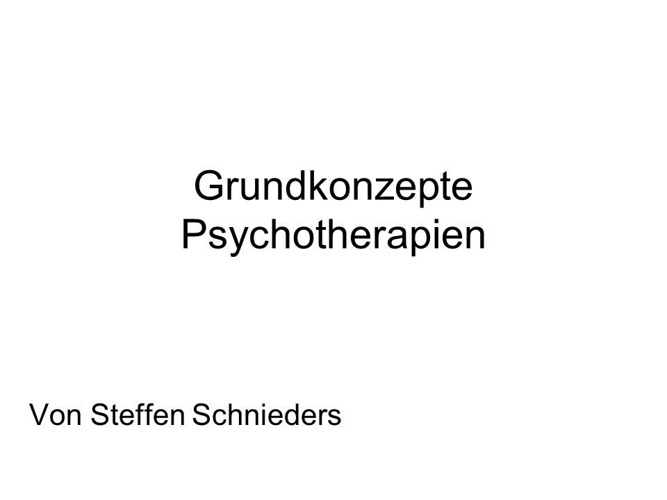 Grundkonzepte Psychotherapien Von Steffen Schnieders