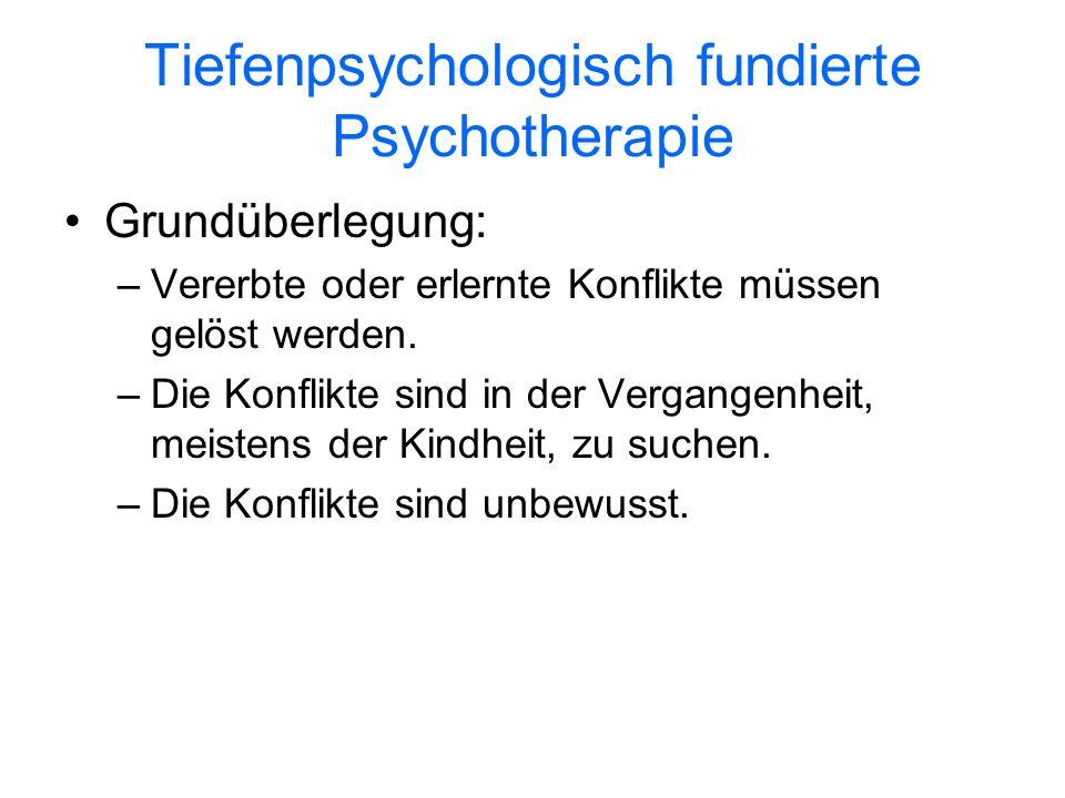 Tiefenpsychologisch fundierte Psychotherapie Grundüberlegung: –Vererbte oder erlernte Konflikte müssen gelöst werden. –Die Konflikte sind in der Verga