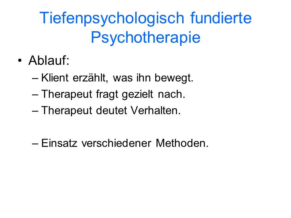 Tiefenpsychologisch fundierte Psychotherapie Ablauf: –Klient erzählt, was ihn bewegt. –Therapeut fragt gezielt nach. –Therapeut deutet Verhalten. –Ein