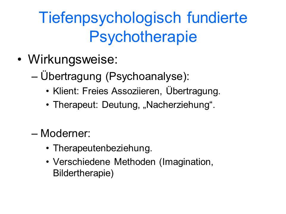 Tiefenpsychologisch fundierte Psychotherapie Wirkungsweise: –Übertragung (Psychoanalyse): Klient: Freies Assoziieren, Übertragung. Therapeut: Deutung,