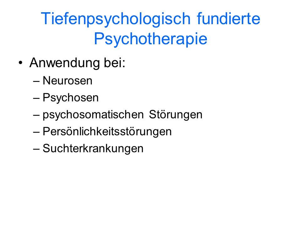 Tiefenpsychologisch fundierte Psychotherapie Anwendung bei: –Neurosen –Psychosen –psychosomatischen Störungen –Persönlichkeitsstörungen –Suchterkranku