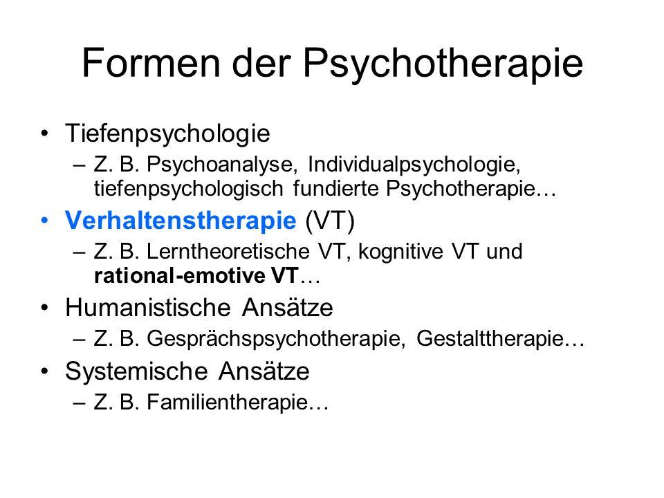 Formen der Psychotherapie Tiefenpsychologie –Z. B. Psychoanalyse, Individualpsychologie, tiefenpsychologisch fundierte Psychotherapie… Verhaltensthera