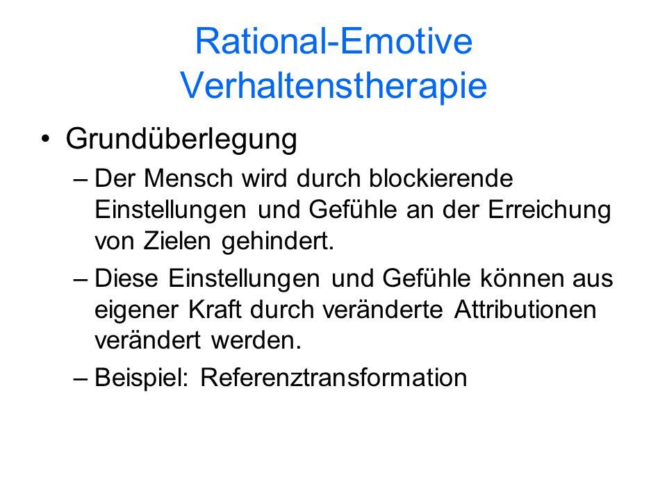 Rational-Emotive Verhaltenstherapie Grundüberlegung –Der Mensch wird durch blockierende Einstellungen und Gefühle an der Erreichung von Zielen gehinde