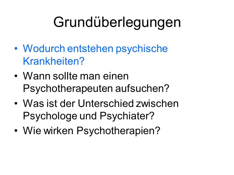 Grundüberlegungen Wodurch entstehen psychische Krankheiten? Wann sollte man einen Psychotherapeuten aufsuchen? Was ist der Unterschied zwischen Psycho
