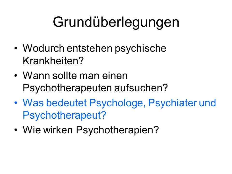 Grundüberlegungen Wodurch entstehen psychische Krankheiten? Wann sollte man einen Psychotherapeuten aufsuchen? Was bedeutet Psychologe, Psychiater und