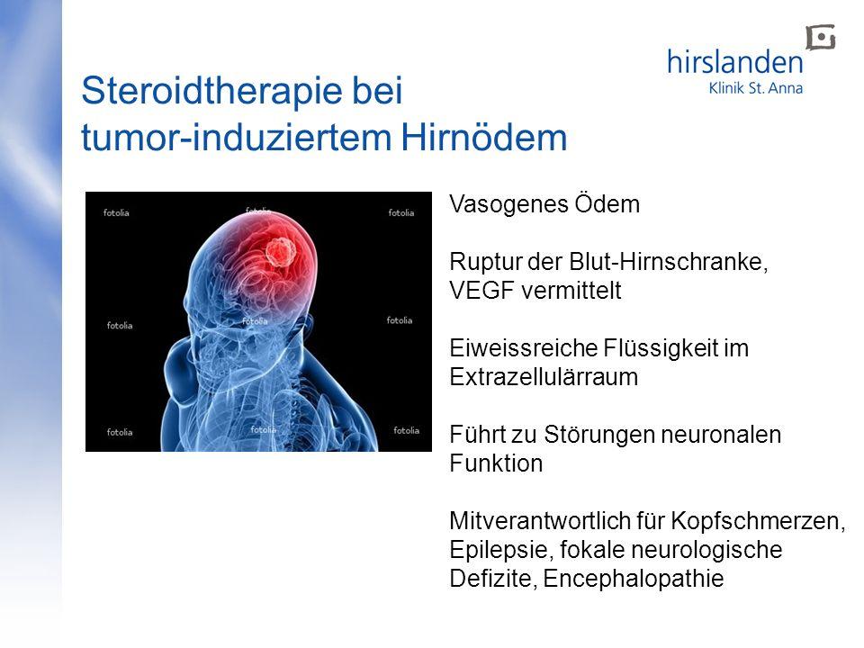 Vasogenes Ödem Ruptur der Blut-Hirnschranke, VEGF vermittelt Eiweissreiche Flüssigkeit im Extrazellulärraum Führt zu Störungen neuronalen Funktion Mit