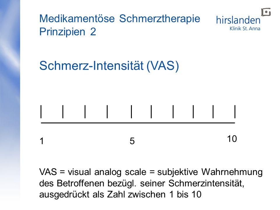 Schmerz-Intensität (VAS) 15 10 VAS = visual analog scale = subjektive Wahrnehmung des Betroffenen bezügl. seiner Schmerzintensität, ausgedrückt als Za
