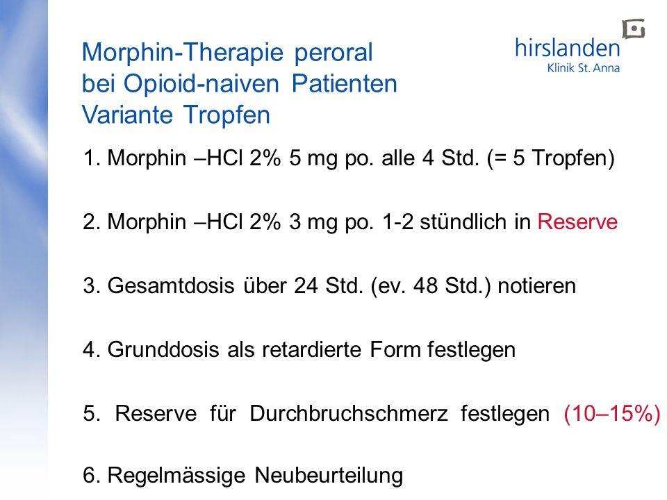 1. Morphin –HCl 2% 5 mg po. alle 4 Std. (= 5 Tropfen) 2. Morphin –HCl 2% 3 mg po. 1-2 stündlich in Reserve 3. Gesamtdosis über 24 Std. (ev. 48 Std.) n