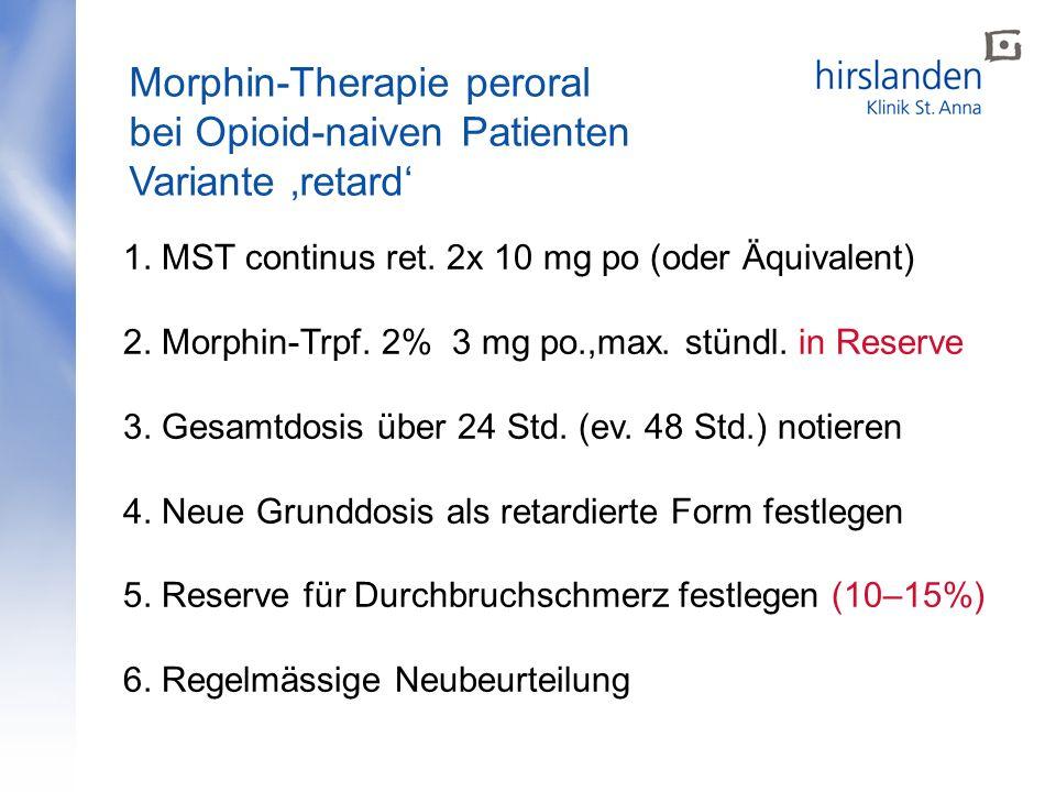 Morphin-Therapie peroral bei Opioid-naiven Patienten Variante retard 1. MST continus ret. 2x 10 mg po (oder Äquivalent) 2. Morphin-Trpf. 2% 3 mg po.,m