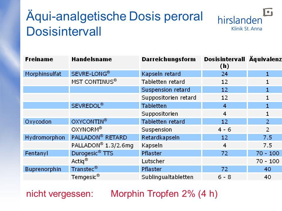 Äqui-analgetische Dosis peroral Dosisintervall nicht vergessen: Morphin Tropfen 2% (4 h)