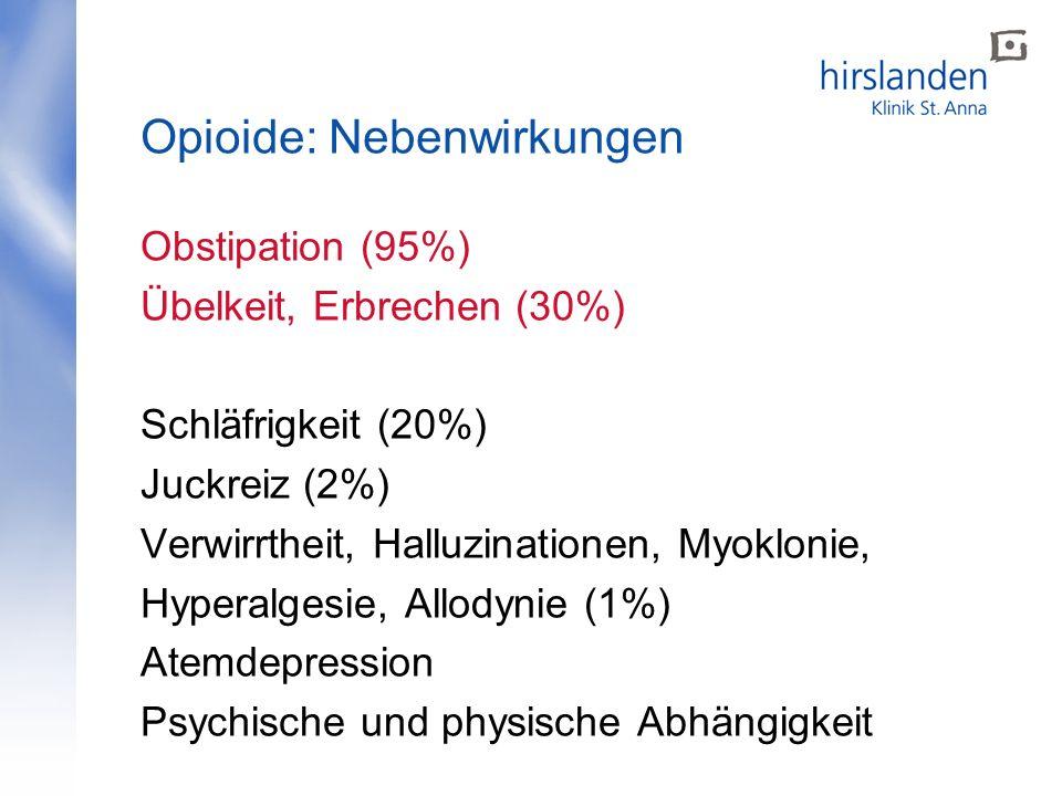 Obstipation (95%) Übelkeit, Erbrechen (30%) Schläfrigkeit (20%) Juckreiz (2%) Verwirrtheit, Halluzinationen, Myoklonie, Hyperalgesie, Allodynie (1%) Atemdepression Psychische und physische Abhängigkeit Opioide: Nebenwirkungen
