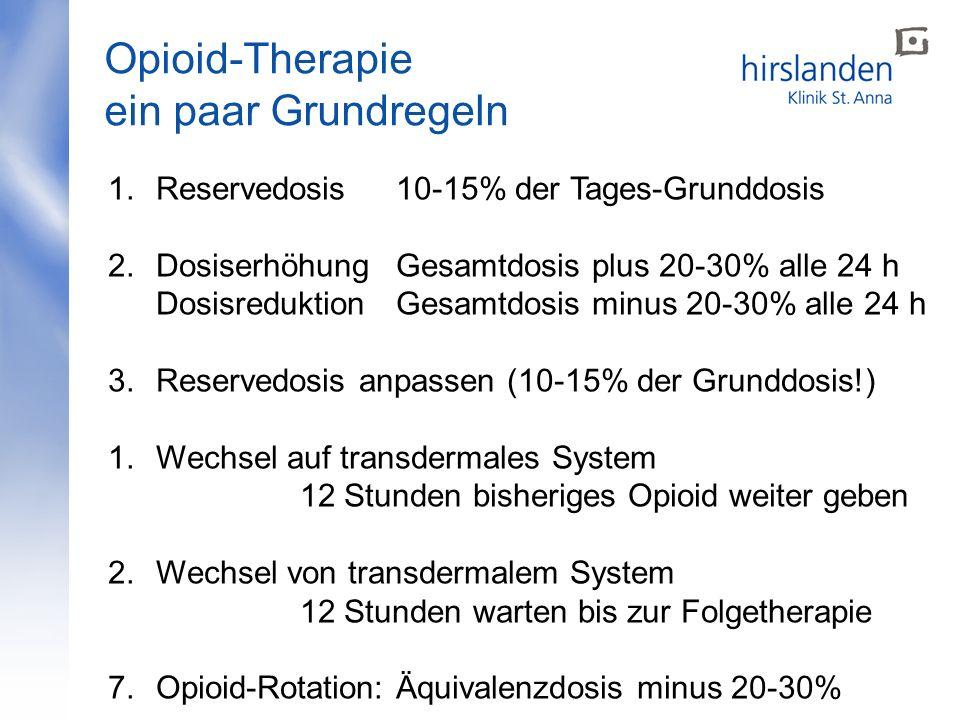 Opioid-Therapie ein paar Grundregeln 1.Reservedosis10-15% der Tages-Grunddosis 2.Dosiserhöhung Gesamtdosis plus 20-30% alle 24 h DosisreduktionGesamtd