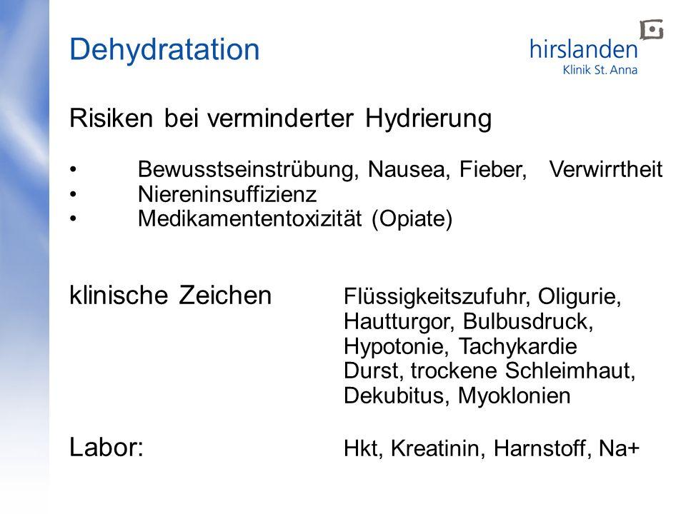 Risiken bei verminderter Hydrierung Bewusstseinstrübung, Nausea, Fieber, Verwirrtheit Niereninsuffizienz Medikamententoxizität (Opiate) klinische Zeic