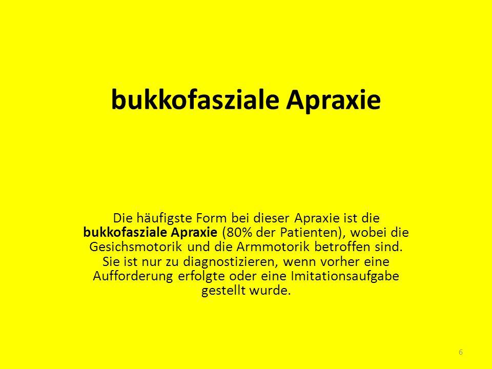 bukkofasziale Apraxie Die häufigste Form bei dieser Apraxie ist die bukkofasziale Apraxie (80% der Patienten), wobei die Gesichsmotorik und die Armmot