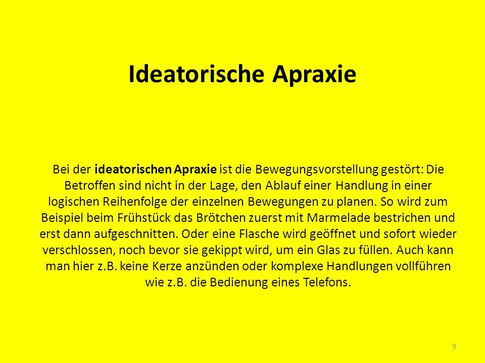 Ideatorische Apraxie Bei der ideatorischen Apraxie ist die Bewegungsvorstellung gestört: Die Betroffen sind nicht in der Lage, den Ablauf einer Handlu