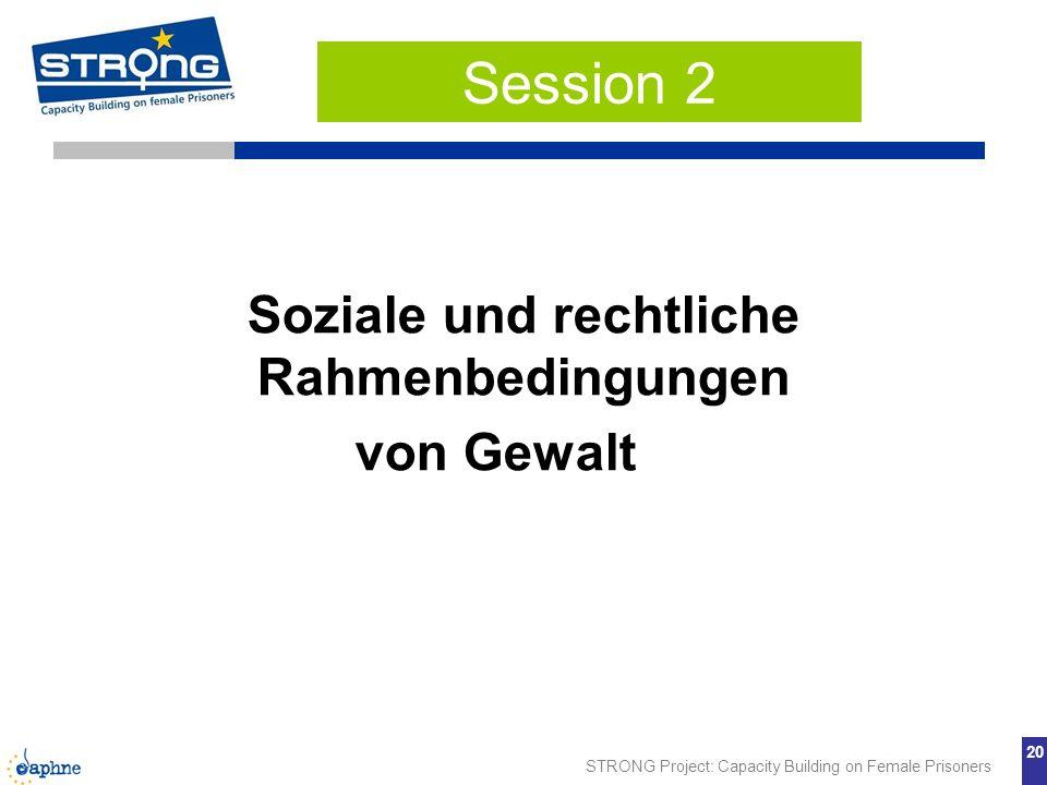 STRONG Project: Capacity Building on Female Prisoners 20 Soziale und rechtliche Rahmenbedingungen von Gewalt Session 2