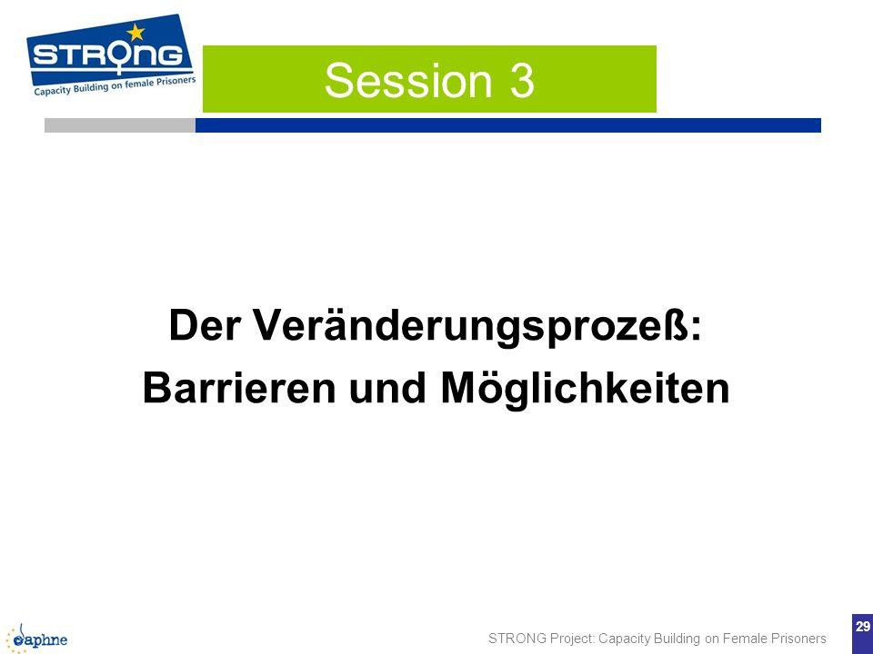 STRONG Project: Capacity Building on Female Prisoners 29 Der Veränderungsprozeß: Barrieren und Möglichkeiten Session 3