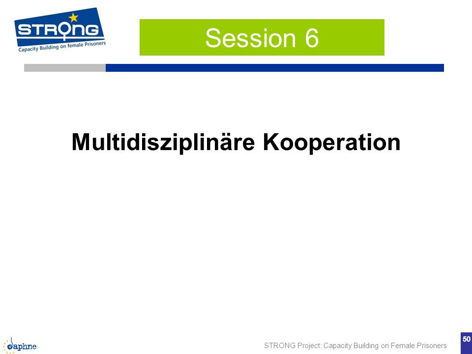 STRONG Project: Capacity Building on Female Prisoners 50 Multidisziplinäre Kooperation Session 6