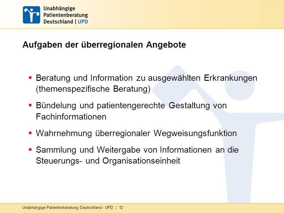 Unabhängige Patientenberatung Deutschland - UPD | 12 Aufgaben der überregionalen Angebote Beratung und Information zu ausgewählten Erkrankungen (themenspezifische Beratung) Bündelung und patientengerechte Gestaltung von Fachinformationen Wahrnehmung überregionaler Wegweisungsfunktion Sammlung und Weitergabe von Informationen an die Steuerungs- und Organisationseinheit