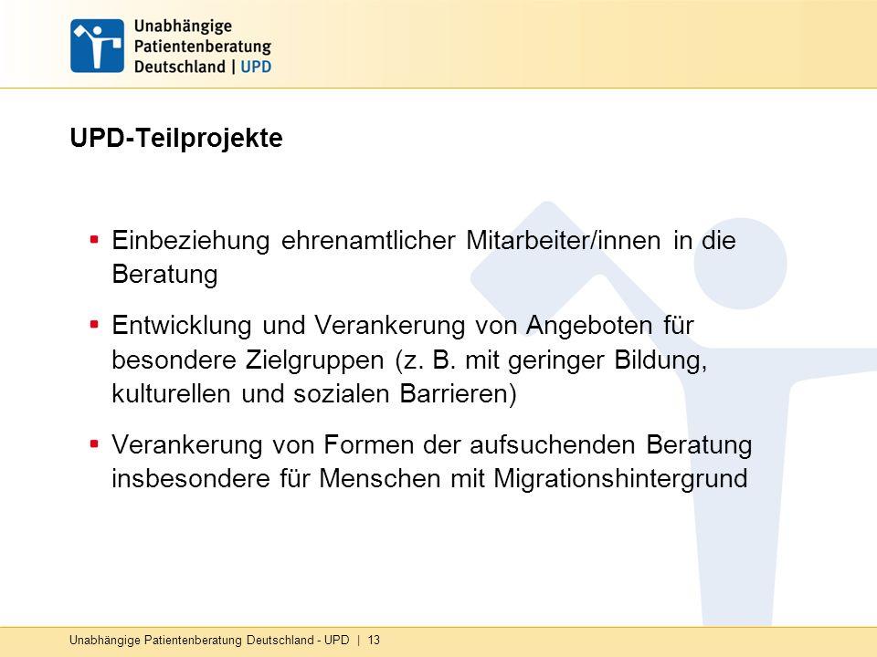 Unabhängige Patientenberatung Deutschland - UPD | 13 UPD-Teilprojekte Einbeziehung ehrenamtlicher Mitarbeiter/innen in die Beratung Entwicklung und Verankerung von Angeboten für besondere Zielgruppen (z.