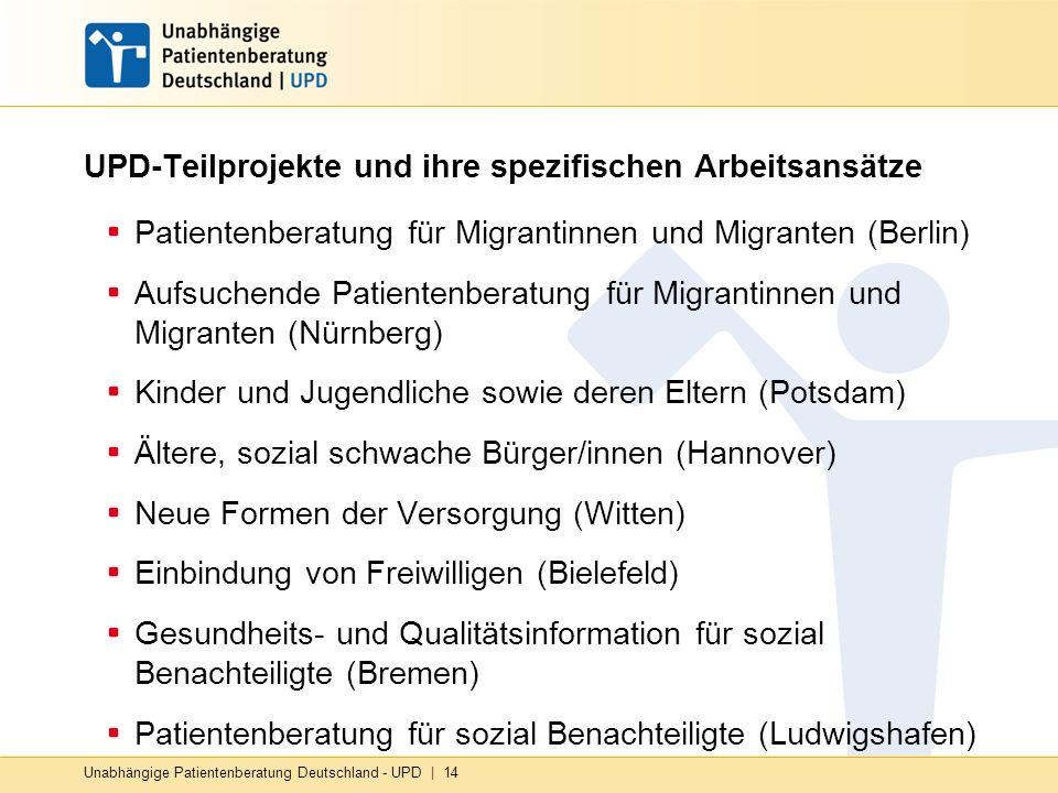 Unabhängige Patientenberatung Deutschland - UPD | 14 UPD-Teilprojekte und ihre spezifischen Arbeitsansätze Patientenberatung für Migrantinnen und Migranten (Berlin) Aufsuchende Patientenberatung für Migrantinnen und Migranten (Nürnberg) Kinder und Jugendliche sowie deren Eltern (Potsdam) Ältere, sozial schwache Bürger/innen (Hannover) Neue Formen der Versorgung (Witten) Einbindung von Freiwilligen (Bielefeld) Gesundheits- und Qualitätsinformation für sozial Benachteiligte (Bremen) Patientenberatung für sozial Benachteiligte (Ludwigshafen)