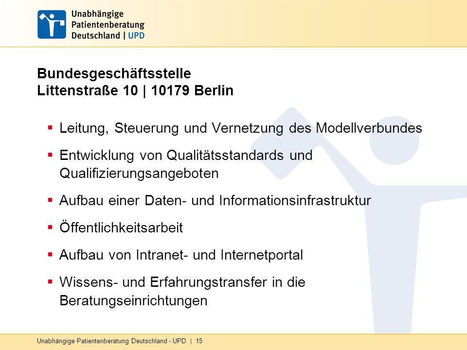 Unabhängige Patientenberatung Deutschland - UPD | 15 Bundesgeschäftsstelle Littenstraße 10 | 10179 Berlin Leitung, Steuerung und Vernetzung des Modell