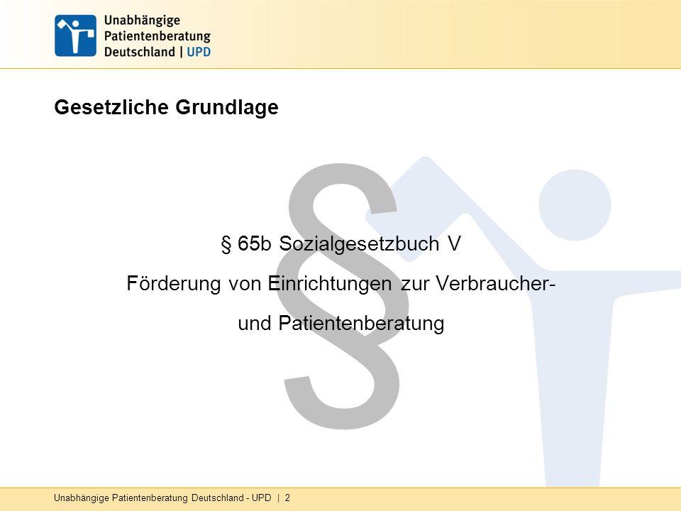 Unabhängige Patientenberatung Deutschland - UPD   13 UPD-Teilprojekte Einbeziehung ehrenamtlicher Mitarbeiter/innen in die Beratung Entwicklung und Verankerung von Angeboten für besondere Zielgruppen (z.