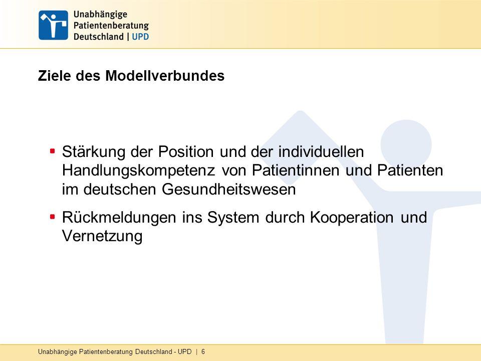 Unabhängige Patientenberatung Deutschland - UPD | 6 Ziele des Modellverbundes Stärkung der Position und der individuellen Handlungskompetenz von Patientinnen und Patienten im deutschen Gesundheitswesen Rückmeldungen ins System durch Kooperation und Vernetzung