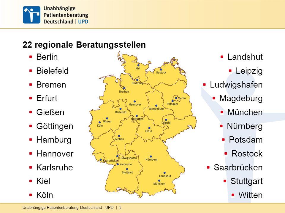 Unabhängige Patientenberatung Deutschland - UPD | 8 22 regionale Beratungsstellen Berlin Bielefeld Bremen Erfurt Gießen Göttingen Hamburg Hannover Kar
