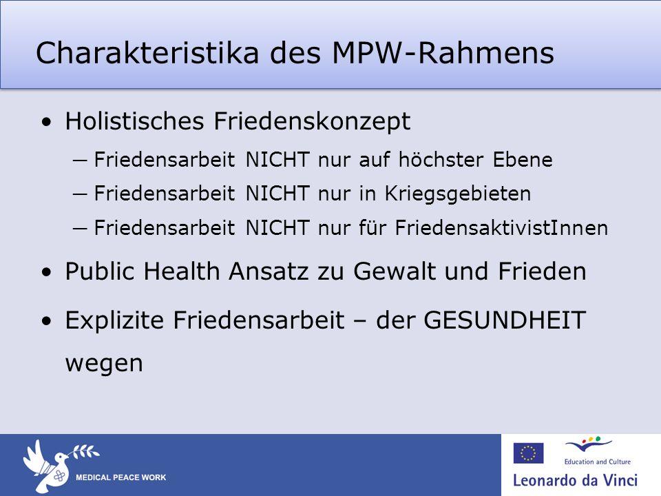Charakteristika des MPW-Rahmens Holistisches Friedenskonzept Friedensarbeit NICHT nur auf höchster Ebene Friedensarbeit NICHT nur in Kriegsgebieten Fr