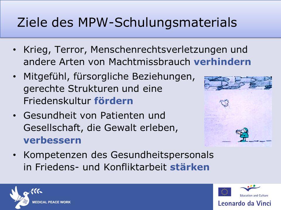 Ziele des MPW-Schulungsmaterials Krieg, Terror, Menschenrechtsverletzungen und andere Arten von Machtmissbrauch verhindern Mitgefühl, fürsorgliche Bez