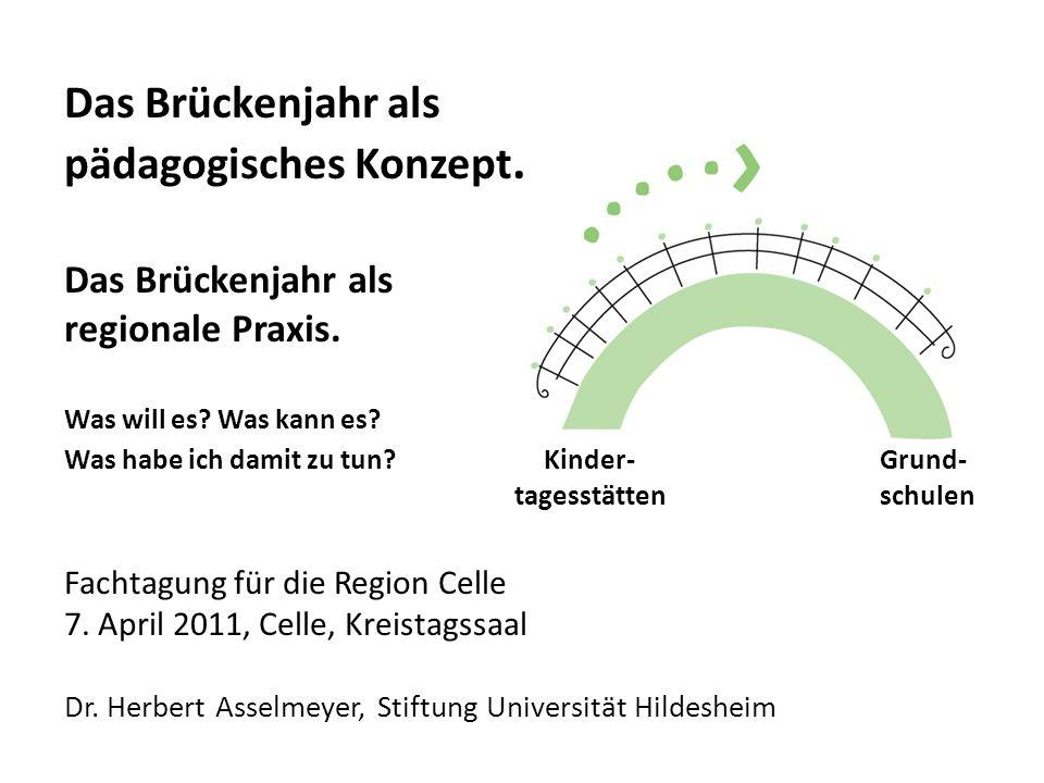 Das Brückenjahr als pädagogisches Konzept. Das Brückenjahr als regionale Praxis. Was will es? Was kann es? Was habe ich damit zu tun? Kinder- Grund- t