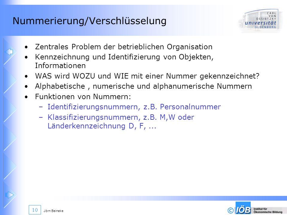 © Jörn Beineke 10 Nummerierung/Verschlüsselung Zentrales Problem der betrieblichen Organisation Kennzeichnung und Identifizierung von Objekten, Inform