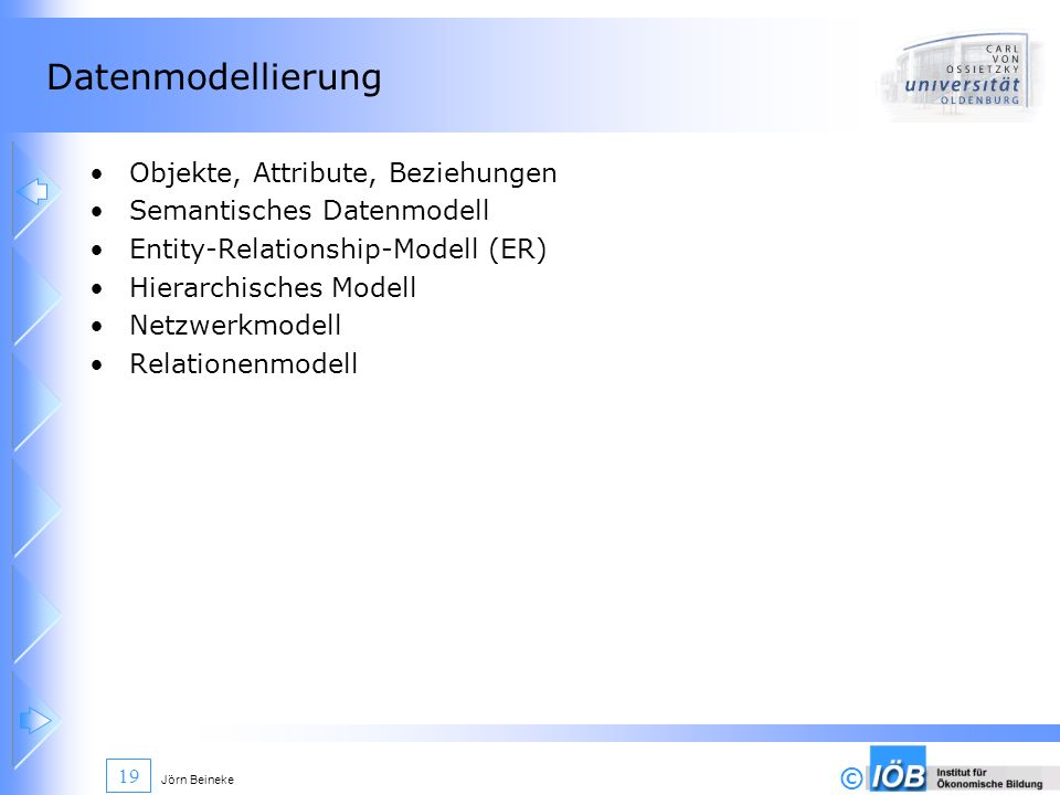 © Jörn Beineke 19 Datenmodellierung Objekte, Attribute, Beziehungen Semantisches Datenmodell Entity-Relationship-Modell (ER) Hierarchisches Modell Net