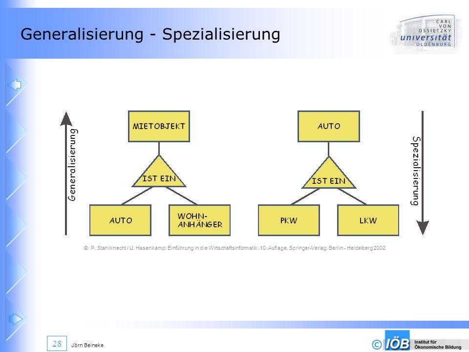 © Jörn Beineke 28 Generalisierung - Spezialisierung © P. Stahlknecht / U. Hasenkamp: Einführung in die Wirtschaftsinformatik. 10. Auflage, Springer-Ve